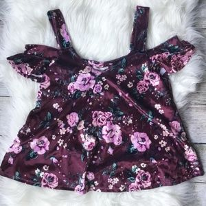 Velvet Floral Cold Shoulder Top
